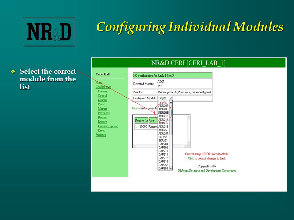 Configuring Individual Modules  Select the correct module from the list