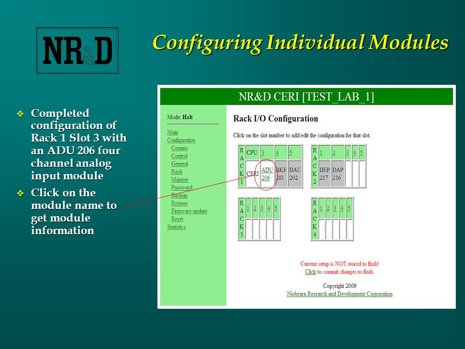 Configuring Individual Modules  Completed configuration of Rack 1 Slot 3 with an ADU 206 four channel analog input module  Click on the module name to get module information