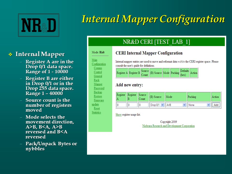 Internal Mapper Configuration  Internal Mapper – Register A are in the Drop 0/1 data space.