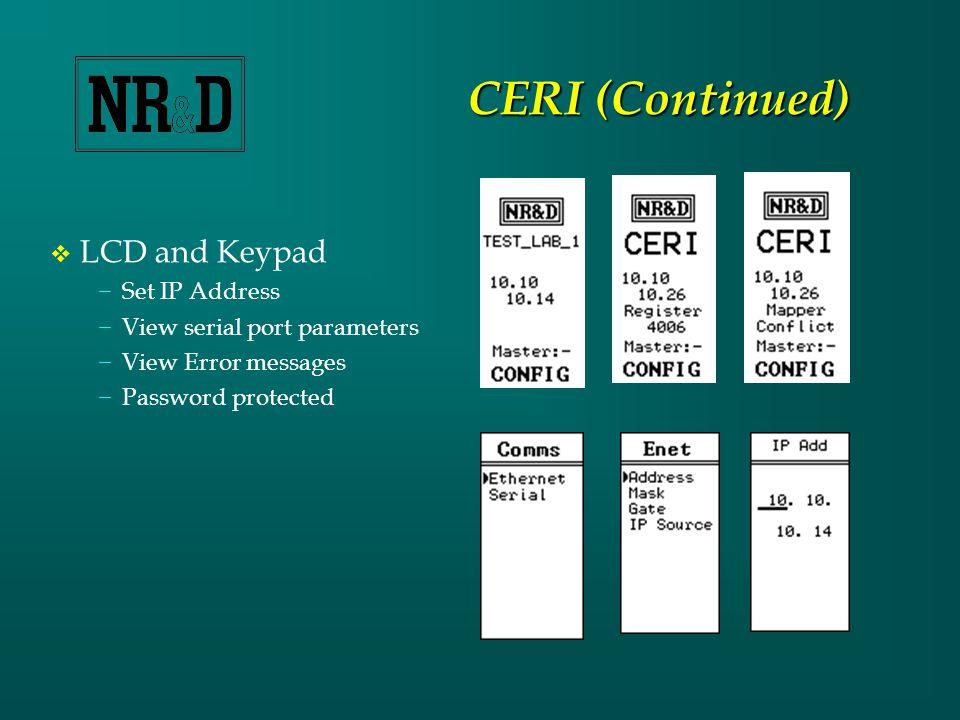  The CERI ….