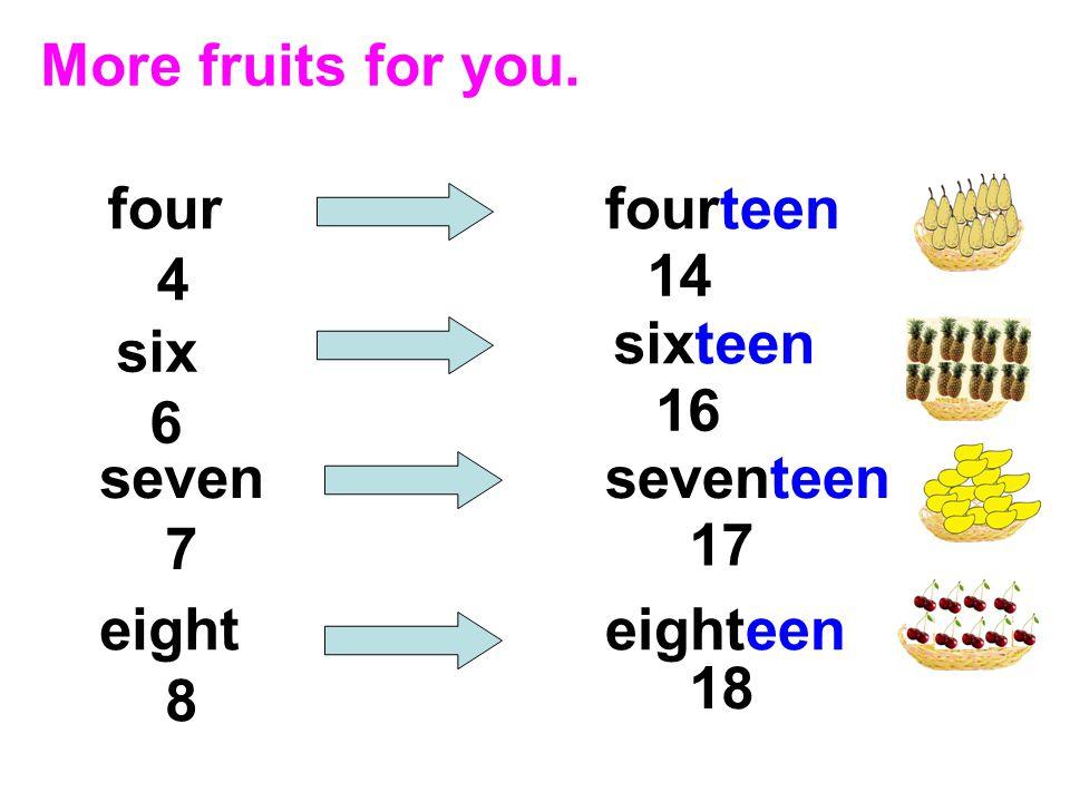 Thirteen, thirteen, thirteen mangoes. Fourteen, fourteen, fourteen pears.