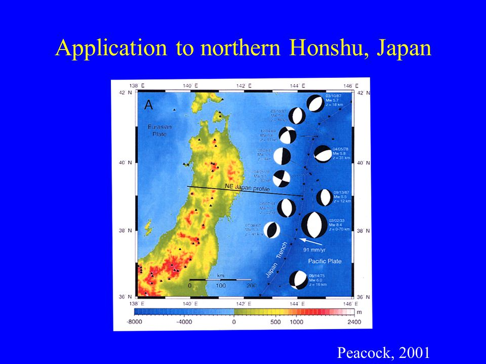 Peacock, 2001 Application to northern Honshu, Japan