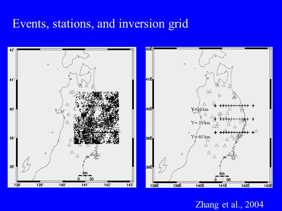 Events, stations, and inversion grid Y=40 km Y=-10 km Y=-60 km Zhang et al., 2004