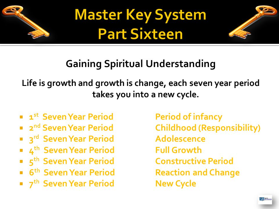 Gaining Spiritual Understanding Life is growth and growth is change, each seven year period takes you into a new cycle.  1 st Seven Year PeriodPeriod