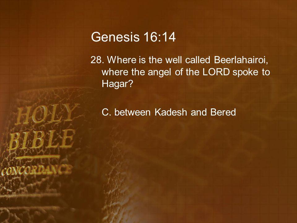 Genesis 16:14 28.