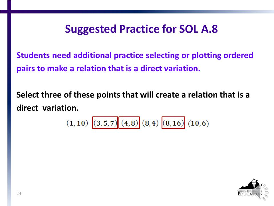 SOL A.8 The student, given a situation, will analyze a relation to determine whether a direct or inverse variation exists, and represent a direct variation algebraically and graphically and an inverse variation algebraically.