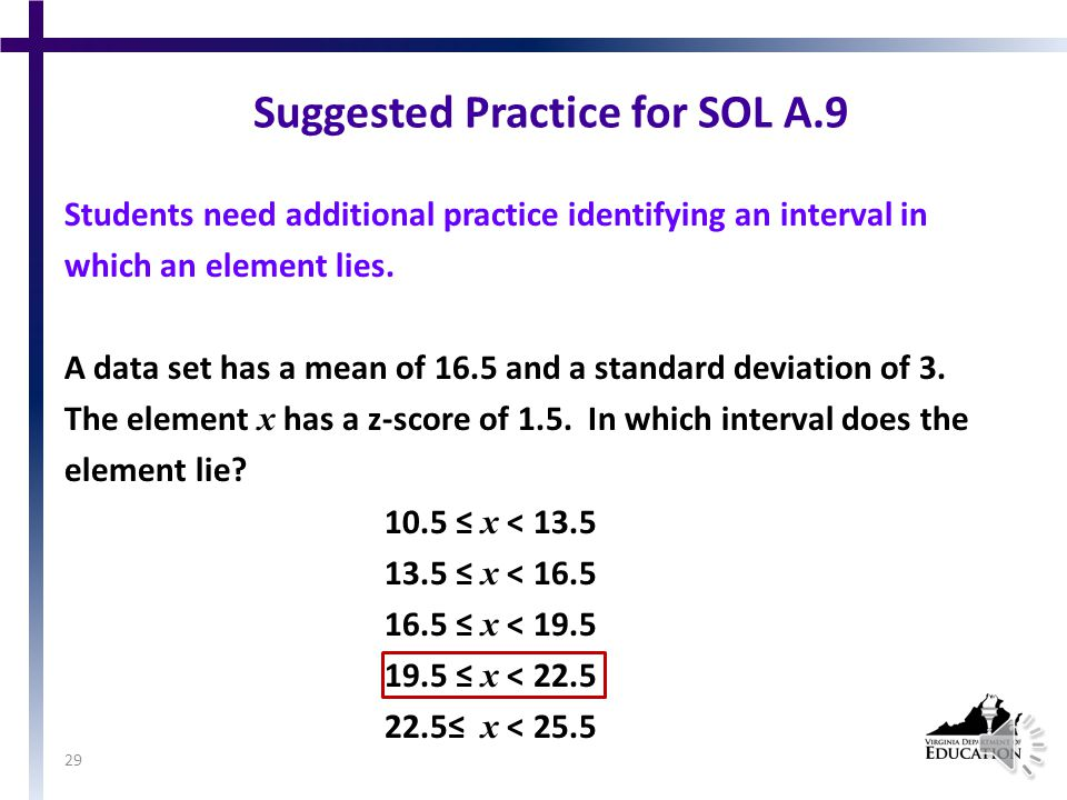 Suggested Practice for SOL A.9 Students need additional practice finding values within a given standard deviation of the mean.