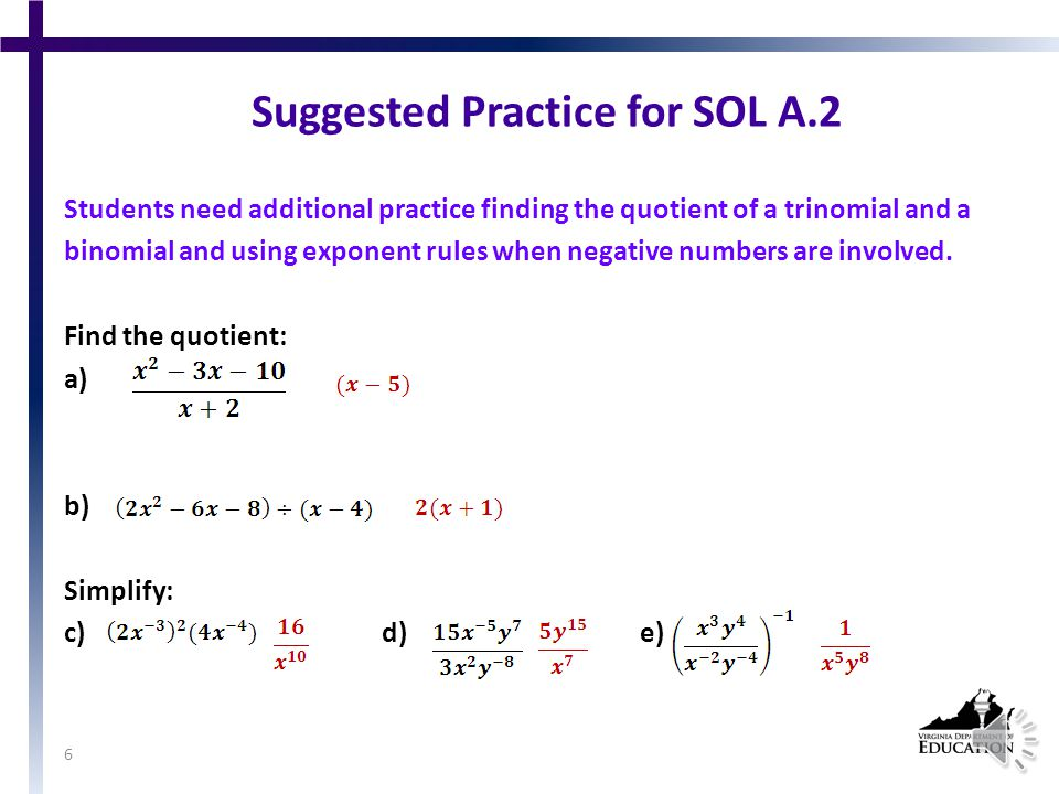 SOL A.2 The student will perform operations on polynomials, including a)applying the laws of exponents to perform operations on expressions; b)adding, subtracting, multiplying, and dividing polynomials; and c)factoring completely first- and second-degree binomials and trinomials in one or two variables.