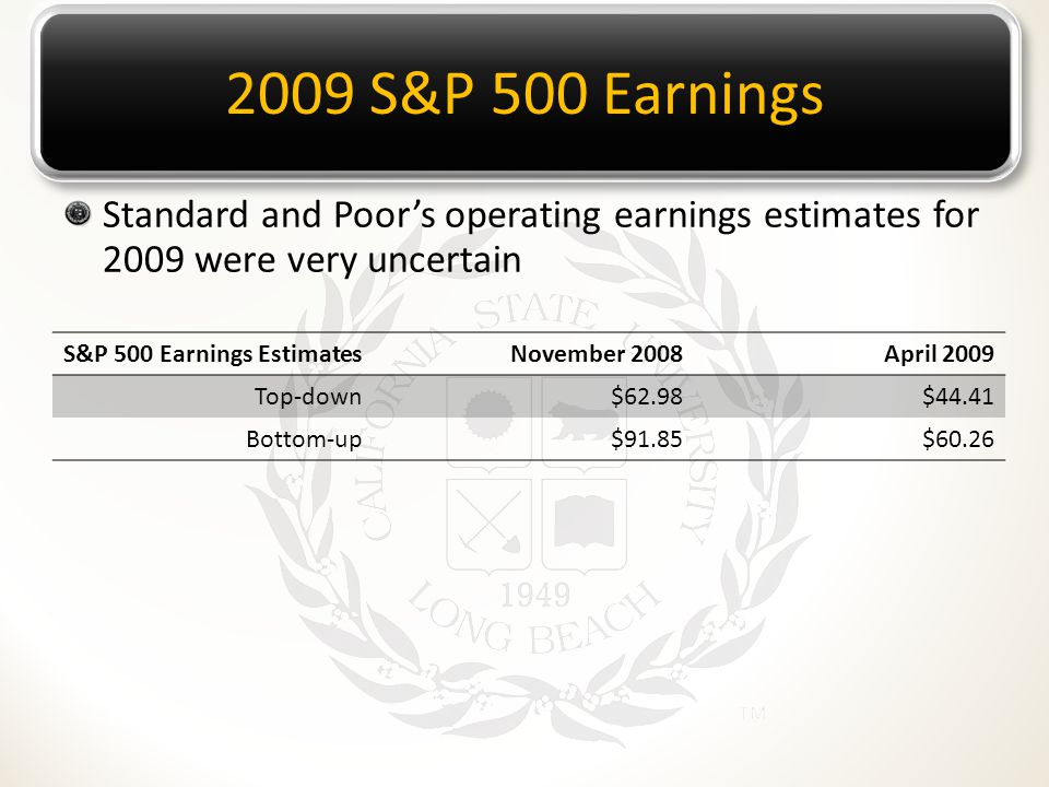 2009 S&P 500 Earnings Standard and Poor's operating earnings estimates for 2009 were very uncertain S&P 500 Earnings EstimatesNovember 2008April 2009