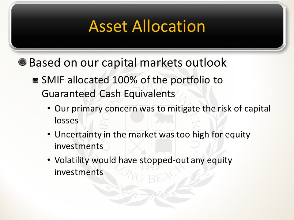 Asset Allocation Based on our capital markets outlook SMIF allocated 100% of the portfolio to Guaranteed Cash Equivalents Our primary concern was to mitigate the risk of capital losses Uncertainty in the market was too high for equity investments Volatility would have stopped-out any equity investments