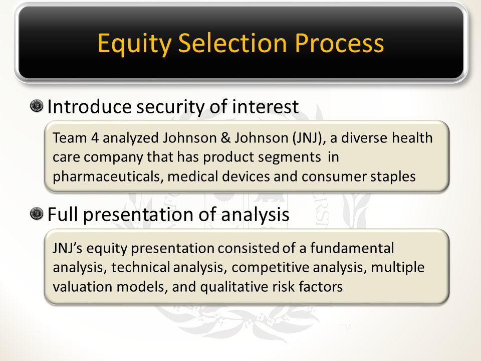 Introduce security of interest Full presentation of analysis Equity Selection Process Team 4 analyzed Johnson & Johnson (JNJ), a diverse health care c