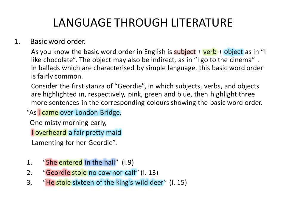 LANGUAGE THROUGH LITERATURE
