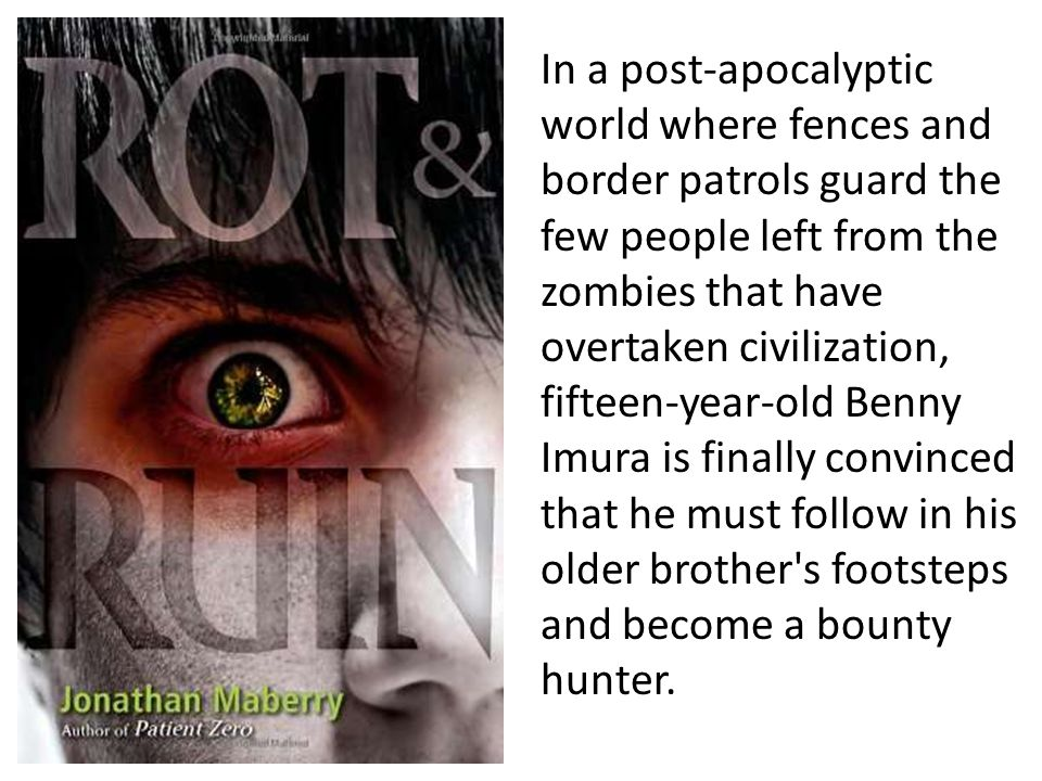In a post-apocalyptic world where fences and border patrols guard the few people left from the zombies that have overtaken civilization, fifteen-year-old Benny Imura is finally convinced that he must follow in his older brother s footsteps and become a bounty hunter.