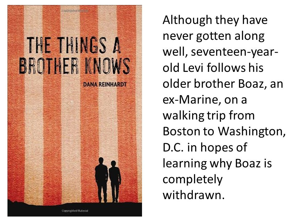 Although they have never gotten along well, seventeen-year- old Levi follows his older brother Boaz, an ex-Marine, on a walking trip from Boston to Washington, D.C.