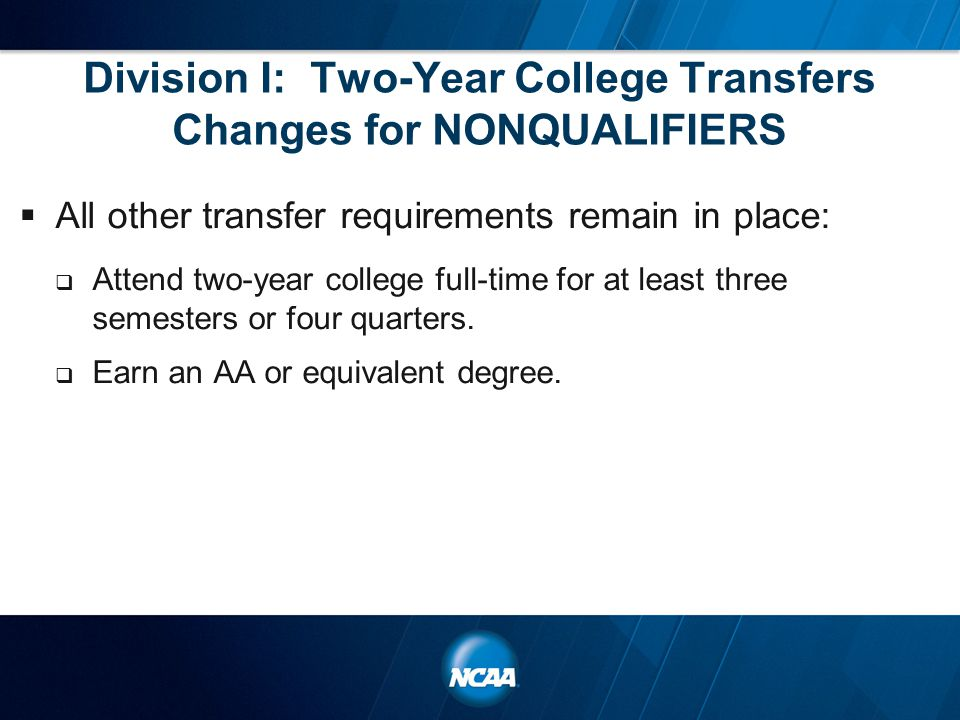 Division I: Two-Year College Transfers Changes for NONQUALIFIERS  All other transfer requirements remain in place:  Attend two-year college full-tim