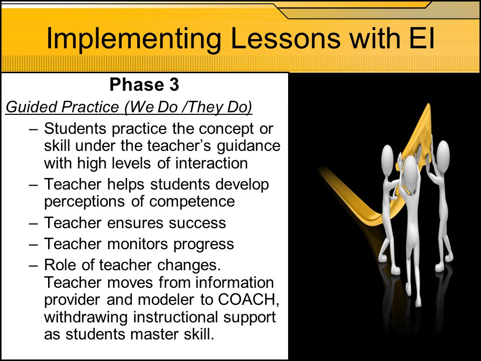 Implementing Lessons with EI Phase 3 Guided Practice (We Do /They Do) –Students practice the concept or skill under the teacher's guidance with high l