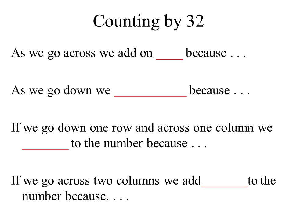 Counting by 32 As we go across we add on ____ because...