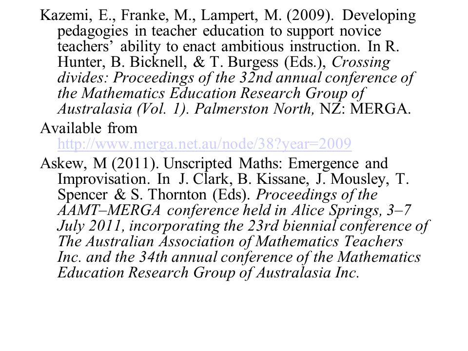 Kazemi, E., Franke, M., Lampert, M.(2009).