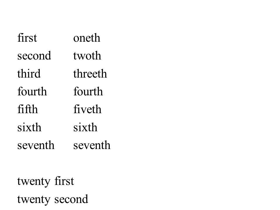 firstoneth secondtwoth thirdthreethfourth fifthfivethsixthseventh twenty first twenty second