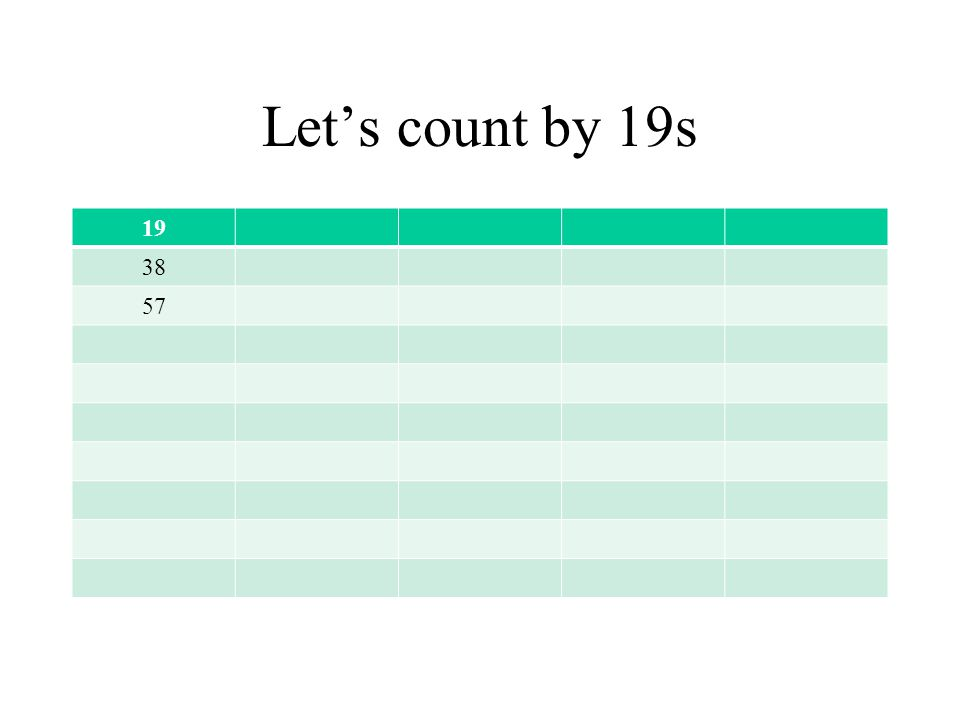 Let's count by 19s 19 38 57