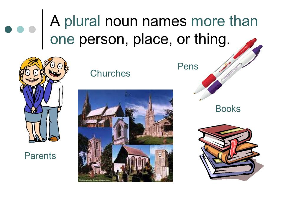 A plural noun names more than one person, place, or thing. Parents Churches Pens Books