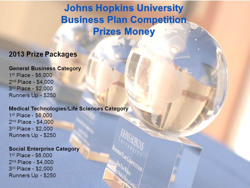 2013 Prize Packages General Business Category 1 st Place - $6,000 2 nd Place - $4,000 3 rd Place - $2,000 Runners Up - $250 Medical Technologies/Life Sciences Category 1 st Place - $6,000 2 nd Place - $4,000 3 rd Place - $2,000 Runners Up - $250 Social Enterprise Category 1 st Place - $6,000 2 nd Place - $4,000 3 rd Place - $2,000 Runners Up - $250