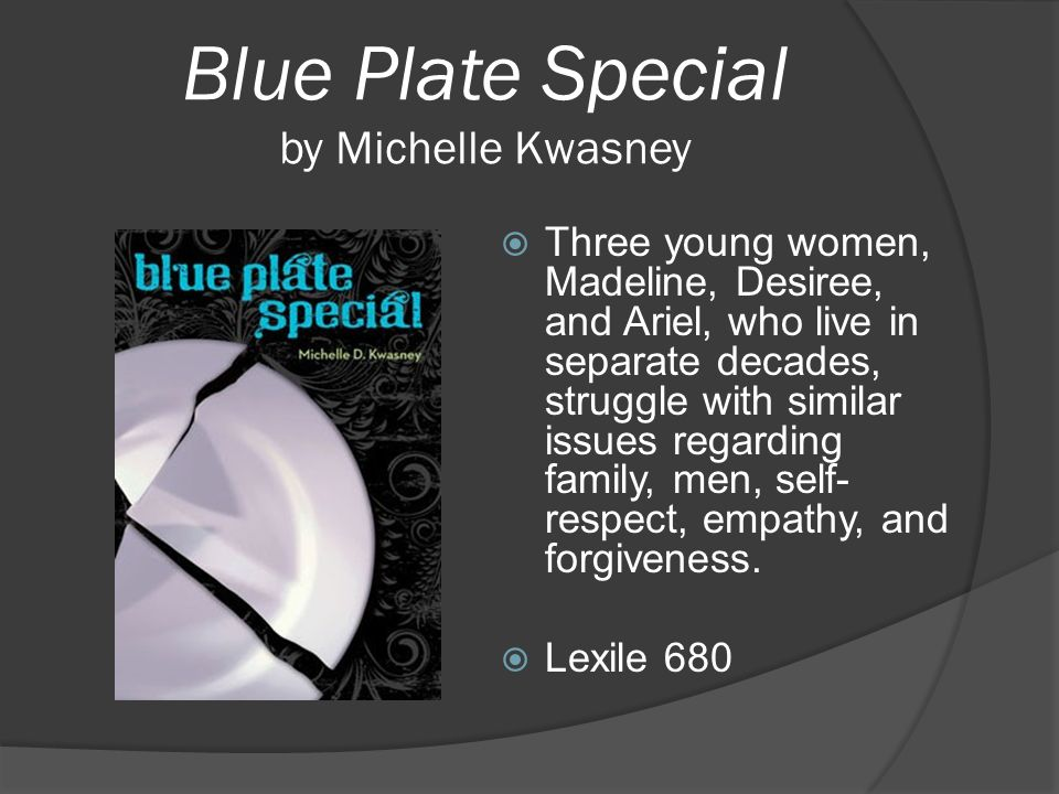 Blue Plate Special by Michelle Kwasney  Three young women, Madeline, Desiree, and Ariel, who live in separate decades, struggle with similar issues r