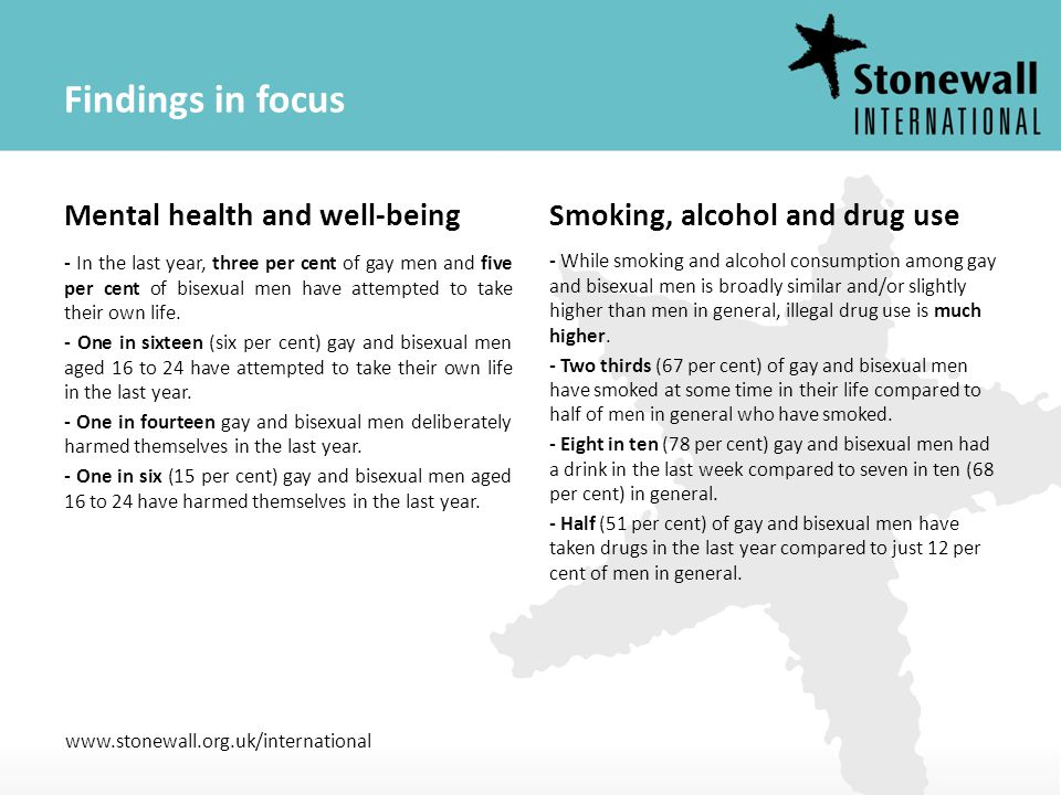 www.stonewall.org.uk/international Findings in focus Mental health and well-being - In the last year, three per cent of gay men and five per cent of b