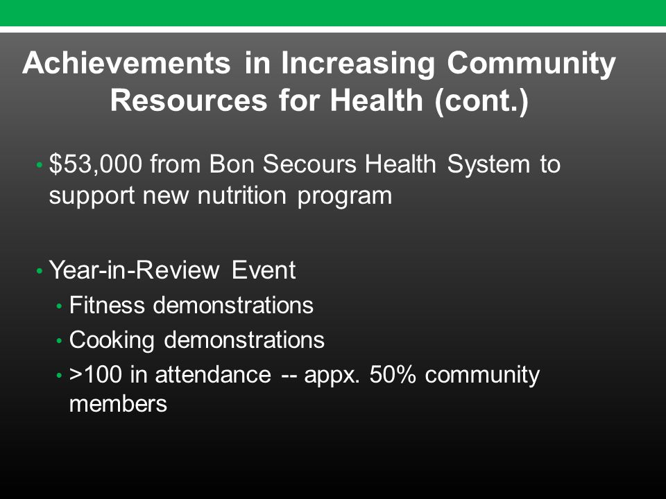 $53,000 from Bon Secours Health System to support new nutrition program Year-in-Review Event Fitness demonstrations Cooking demonstrations >100 in attendance -- appx.