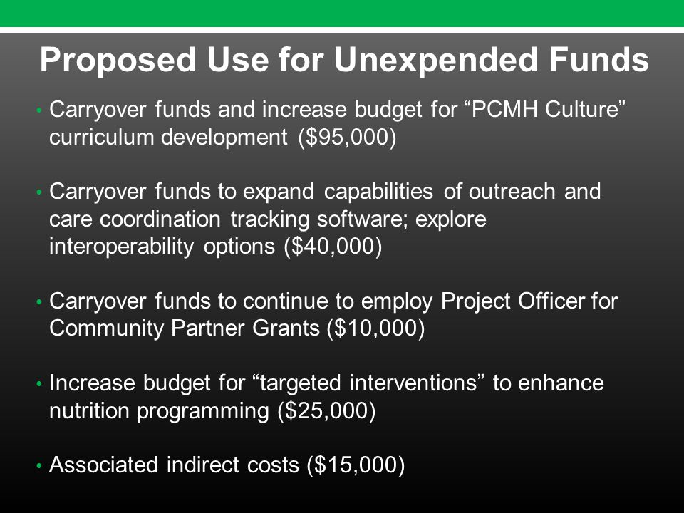 Carryover funds and increase budget for PCMH Culture curriculum development ($95,000) Carryover funds to expand capabilities of outreach and care coordination tracking software; explore interoperability options ($40,000) Carryover funds to continue to employ Project Officer for Community Partner Grants ($10,000) Increase budget for targeted interventions to enhance nutrition programming ($25,000) Associated indirect costs ($15,000) Proposed Use for Unexpended Funds