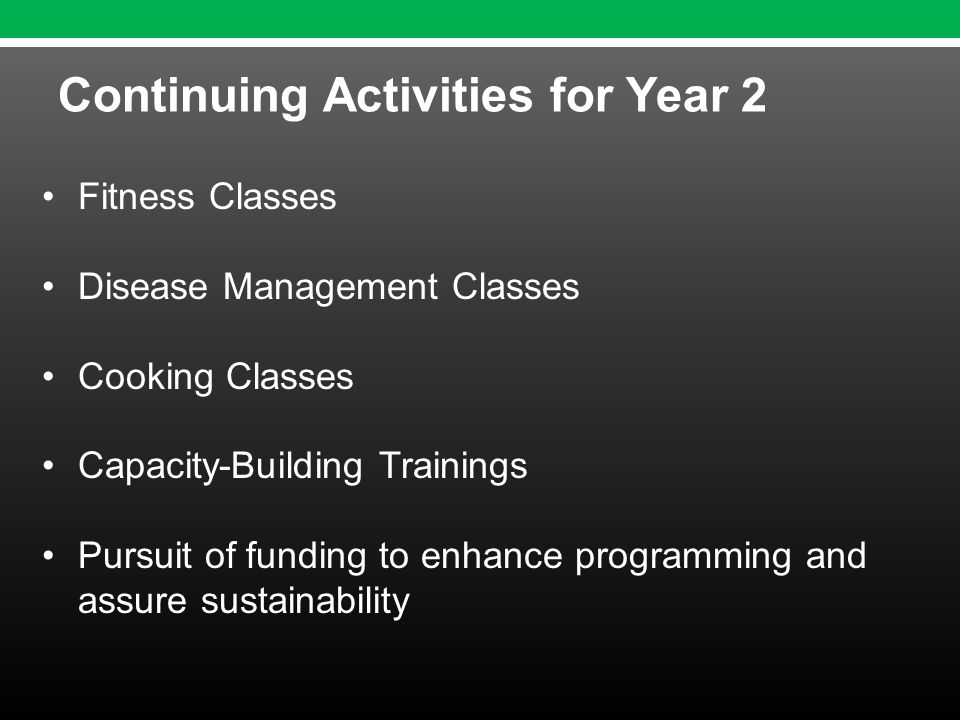 Fitness Classes Disease Management Classes Cooking Classes Capacity-Building Trainings Pursuit of funding to enhance programming and assure sustainability Continuing Activities for Year 2