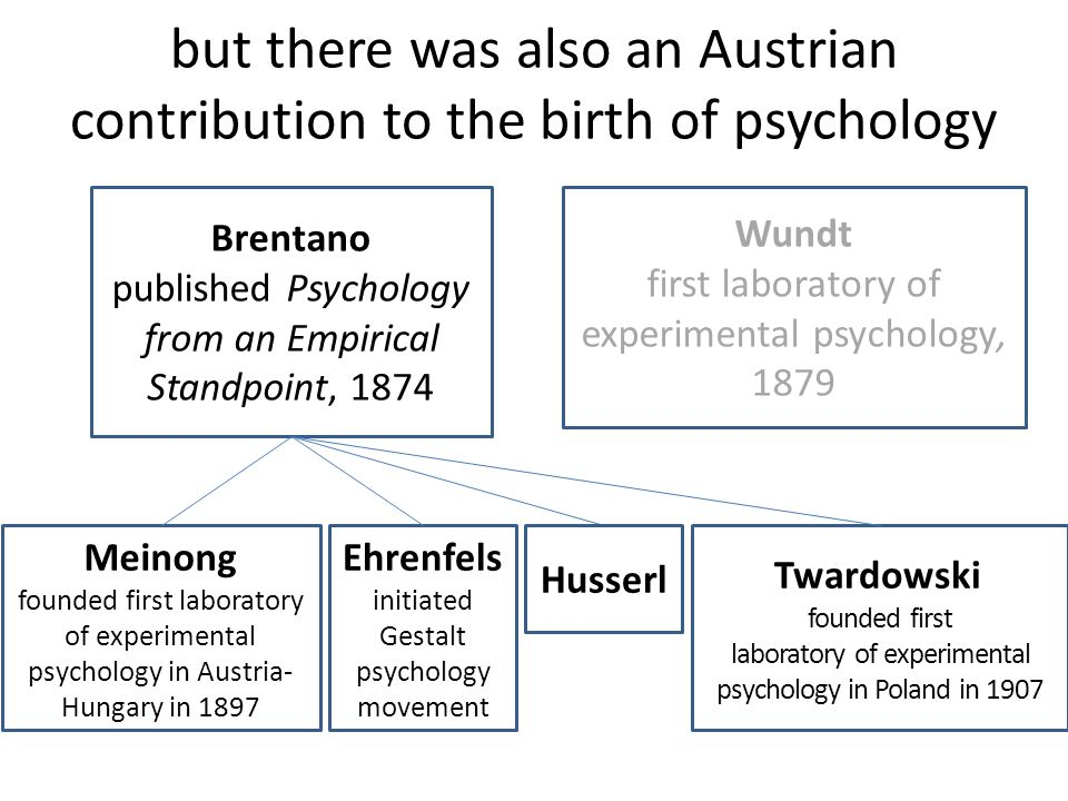 but there was also an Austrian contribution to the birth of psychology Brentano published Psychology from an Empirical Standpoint, 1874 Meinong founde