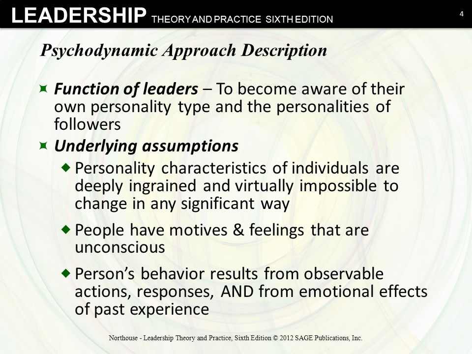 LEADERSHIP THEORY AND PRACTICE SIXTH EDITION Sigmund Freud & Personality Types  Narcissist  Not egotistical or vain  Takes pride in actual accomplishments  Humor is important, often self-directed  Has a clear vision of what needs to be done, but  does not account for or consider others' pursuit of that vision 15 Northouse - Leadership Theory and Practice, Sixth Edition © 2012 SAGE Publications, Inc.