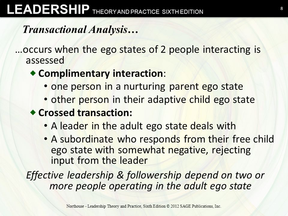 LEADERSHIP THEORY AND PRACTICE SIXTH EDITION Eric Berne and Transactional Analysis 9 Northouse - Leadership Theory and Practice, Sixth Edition © 2012 SAGE Publications, Inc.