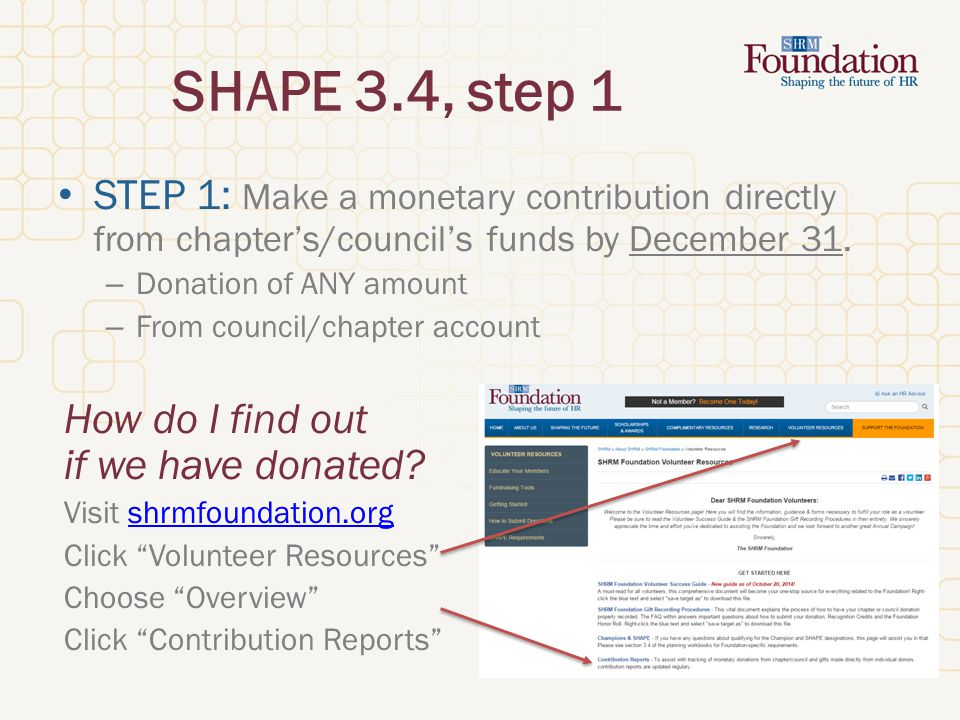SHAPE 3.4, step 1 STEP 1: Make a monetary contribution directly from chapter's/council's funds by December 31.
