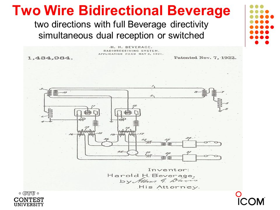 Two Wire Bidirectional Beverage two directions with full Beverage directivity simultaneous dual reception or switched