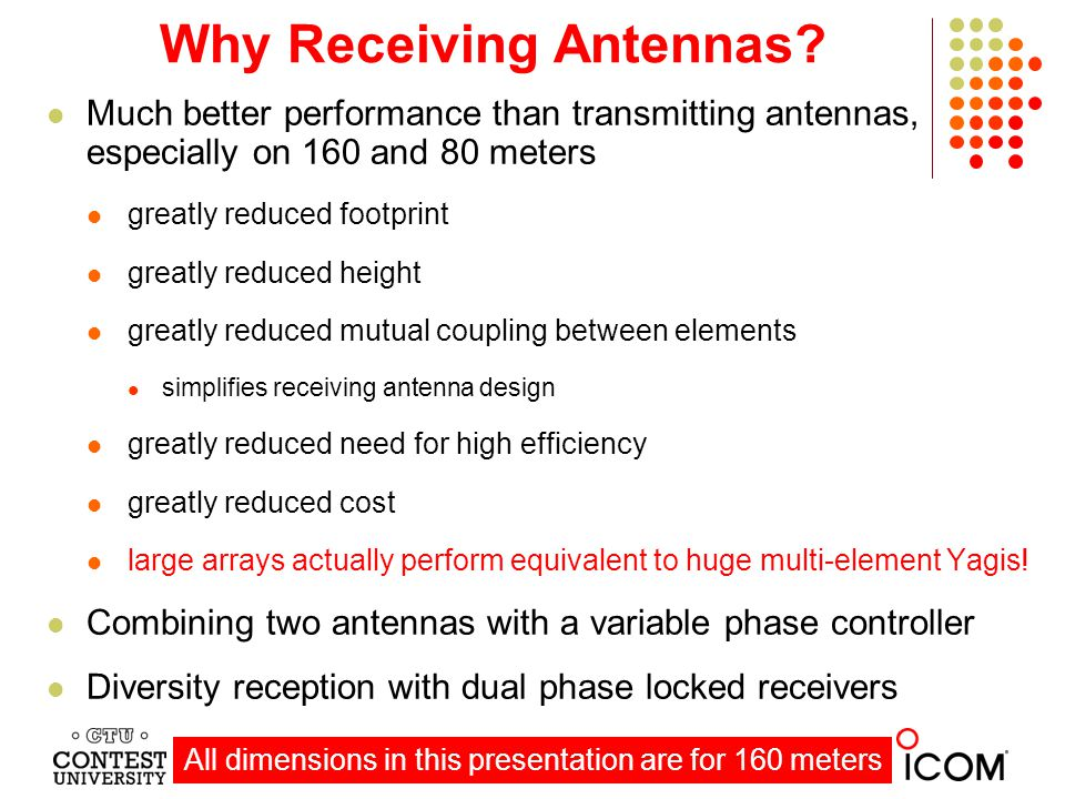 Receiving Directivity Factor (RDF) RDF is an accurate, proven measure of receiving antenna performance forward gain at the desired azimuth and elevation angle compared to average gain over the entire hemisphere Nearby antennas and power lines degrade actual RDF, especially high RDFs 4 dB: small diameter loop 5 dB: a single vertical antenna (1/4 wavelength vertical and short verticals) 4 - 6 dB: 250 - 400 foot Beverages and Beverage on Ground (BOG) 6 - 8 dB: array of small loops (flag, pennant, ewe, K9AY, shared apex loop array) 9 dB: two element array of short verticals or a triangle array (65 foot spacing) 10 dB: 500 - 600 foot Beverage 11 dB: two close spaced 500 - 600 ft Beverages staggered 65 feet 12 dB: 800-900 foot Beverage 12 dB: 4-square array of short verticals only 65 feet on a side (1/10 acre) 13-14 dB: 4 short verticals or a steerable 8-circle array of short verticals (1 - 3 acres) 14 dB 2 broadside, staggered 800-900 ft Beverages separated 350 ft (8 acres or more) 14-16 dB: 3 broadside 800-900 ft Beverages and arrays of 8 short verticals (5 - 20 acres) Size Matters!