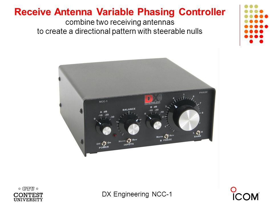 Receive Antenna Variable Phasing Controller combine two receiving antennas to create a directional pattern with steerable nulls DX Engineering NCC-1