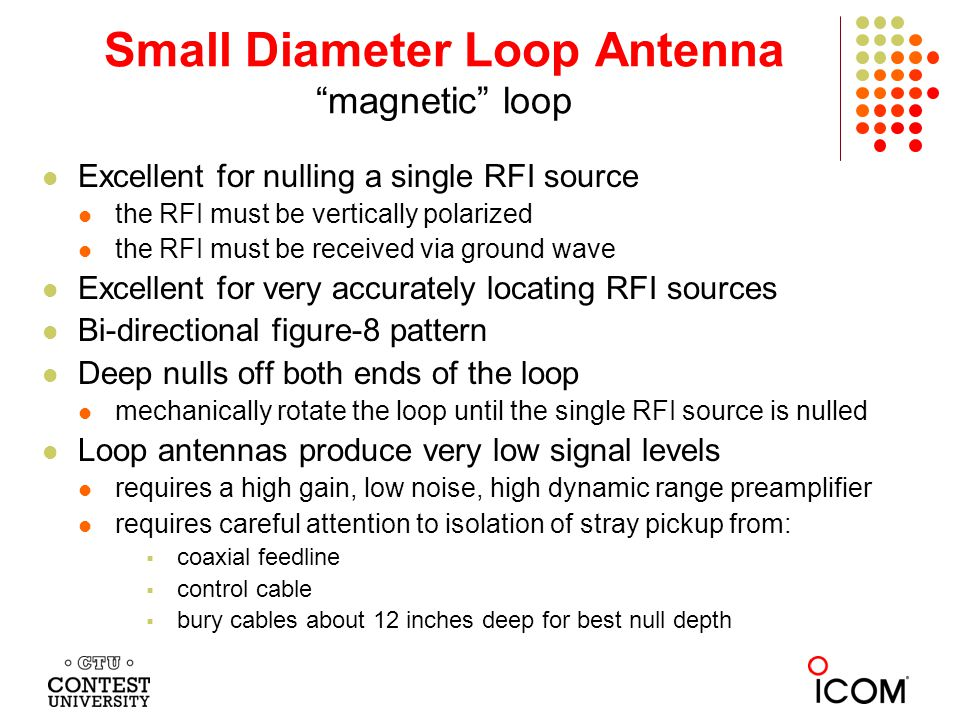http://tomthompson.com/radio/ReceivingLoop/loop.html Small Diameter Loop inexpensive and very easy to build and use 24 - 36 inch diameter bidirectional 160 degree 3 dB beamwidth 4 dB RDF