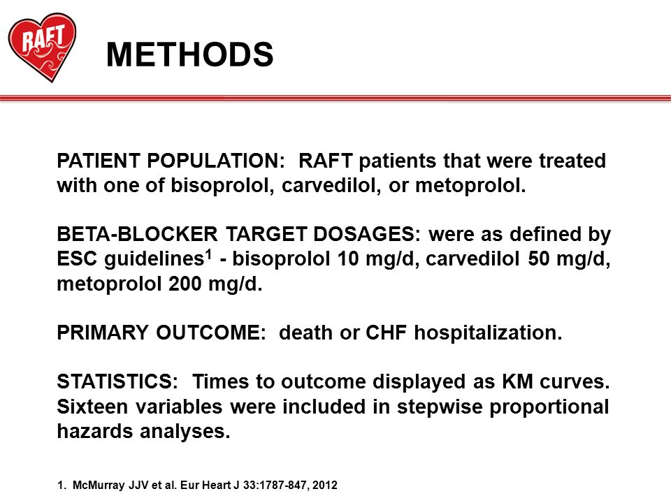 METHODS PATIENT POPULATION: RAFT patients that were treated with one of bisoprolol, carvedilol, or metoprolol.