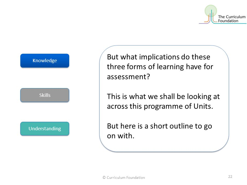 © Curriculum Foundation 22 But what implications do these three forms of learning have for assessment? This is what we shall be looking at across this