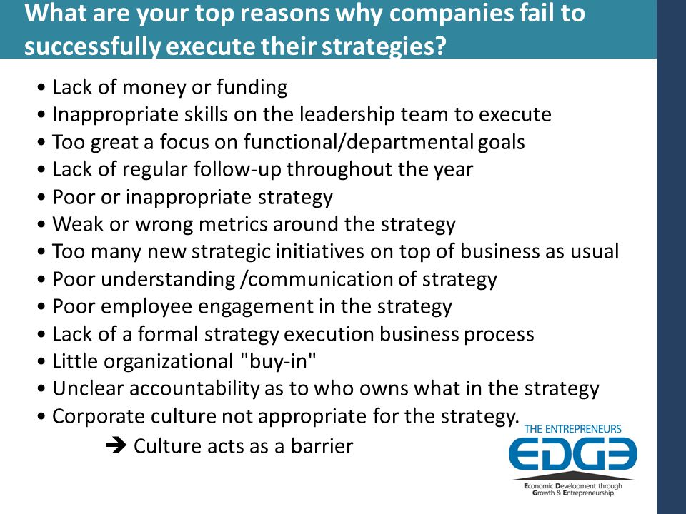 What are your top reasons why companies fail to successfully execute their strategies.