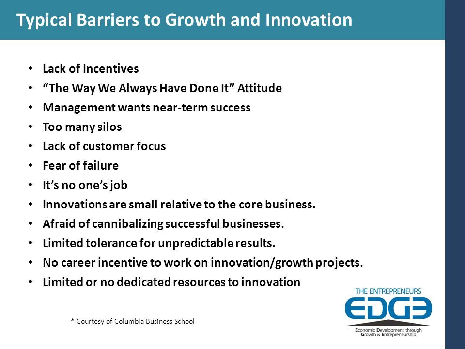 Typical Barriers to Growth and Innovation Lack of Incentives The Way We Always Have Done It Attitude Management wants near-term success Too many silos Lack of customer focus Fear of failure It's no one's job Innovations are small relative to the core business.