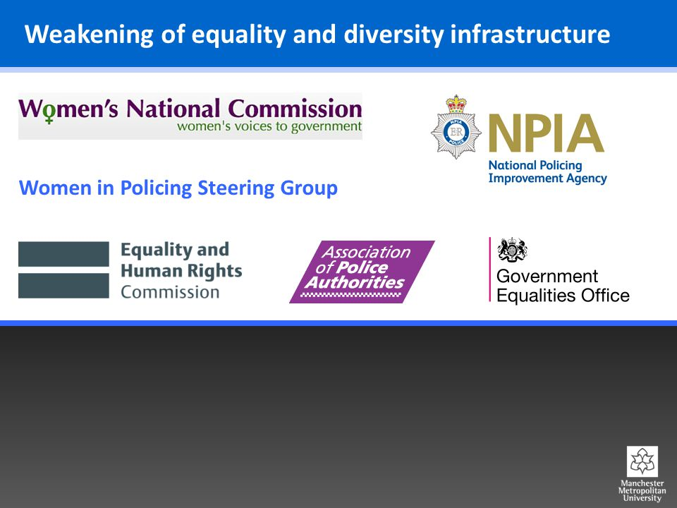 Weakening of equality and diversity infrastructure Women in Policing Steering Group
