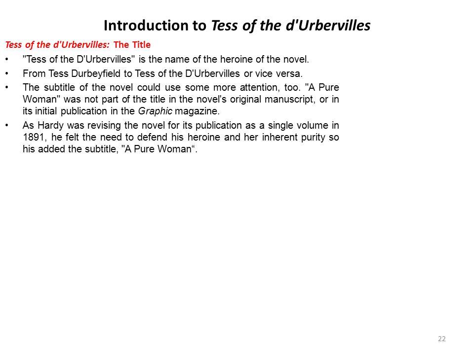Introduction to Tess of the d'Urbervilles Tess of the d'Urbervilles: The Title