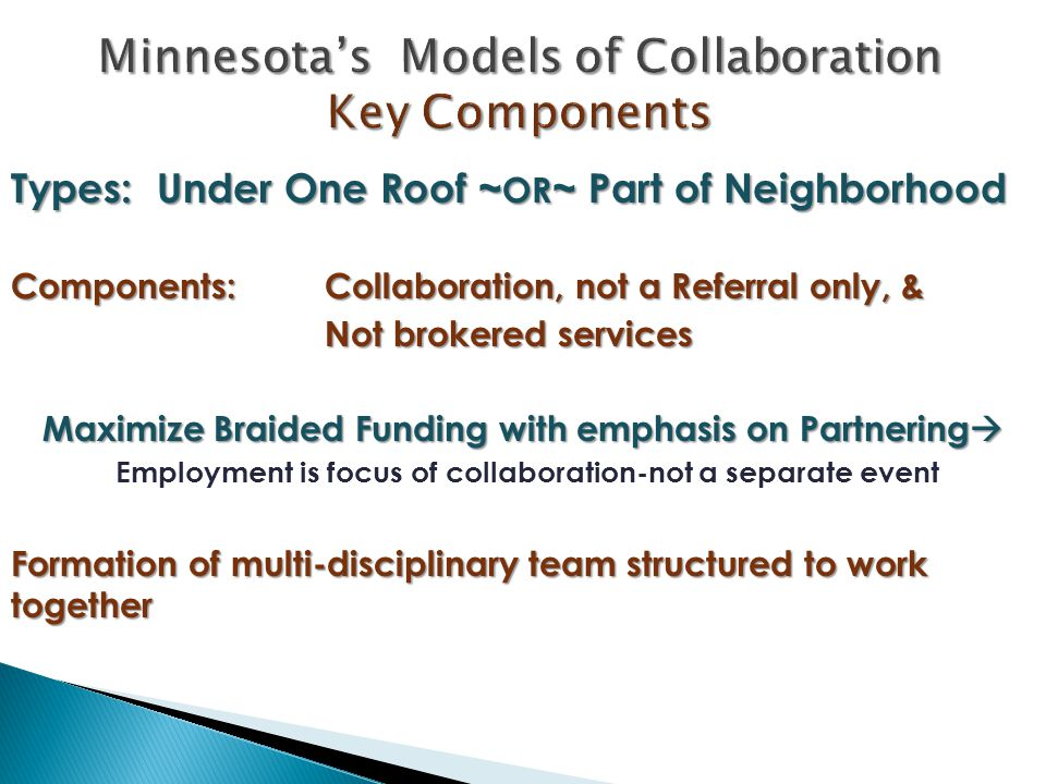 Types: Under One Roof ~ OR ~ Part of Neighborhood Components: Collaboration, not a Referral only, & Not brokered services Maximize Braided Funding wit