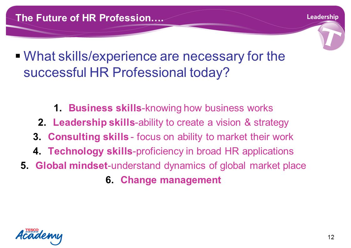 The Future of HR Profession….  What skills/experience are necessary for the successful HR Professional today? 1.Business skills-knowing how business