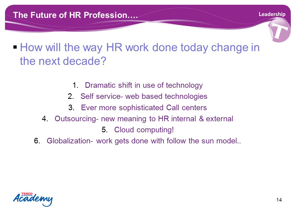 The Future of HR Profession….  How will the way HR work done today change in the next decade? 1.Dramatic shift in use of technology 2.Self service- w