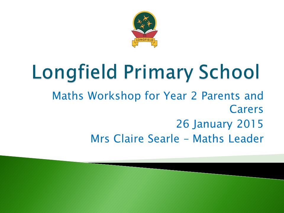 Maths Workshop for Year 2 Parents and Carers 26 January 2015 Mrs Claire Searle – Maths Leader