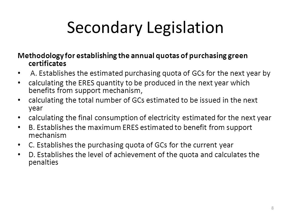 Secondary Legislation Methodology for establishing the annual quotas of purchasing green certificates A.